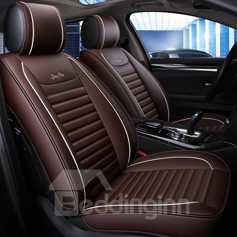 Business Color Block Pu Leather Universal Car Seat Cover Pic