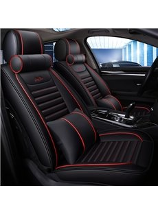 Business Style Color Block PU Leather Material Universal Car Seat Cover