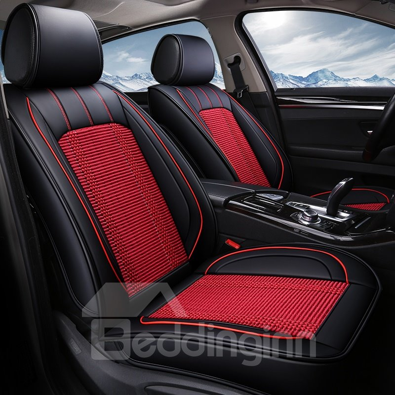 Simple Style Color Block Ice Silk Material Universal Car Seat Cover