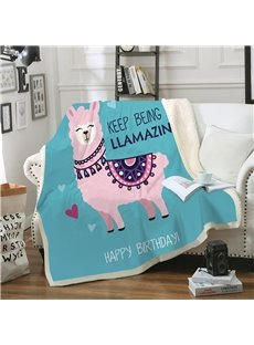 Ultra Soft and Easy Care Double Thickened Little Sheep Printed 3D Blanket