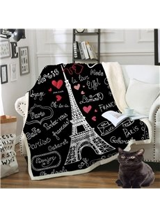Double Thickened Cotton Velvet Eiffel Printed The Lazy Blanket