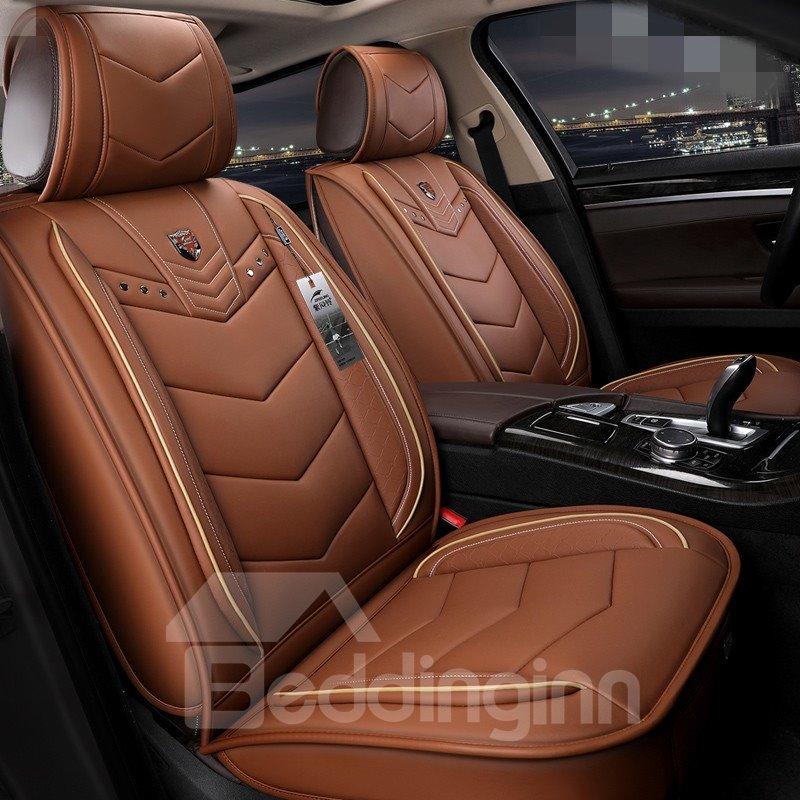 Modern Style Plain Pattern PVC Leather Universal Car Seat Cover