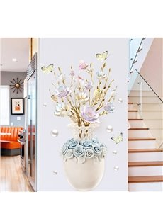 Removable PVC Flower Pattern Wall Stickers for Corridor Living Room Bedroom