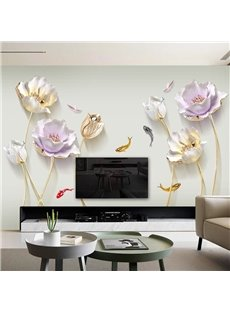 Waterproof Flower Pattern TV Wall Corridor Home Decor Waterproof Wall Sticker