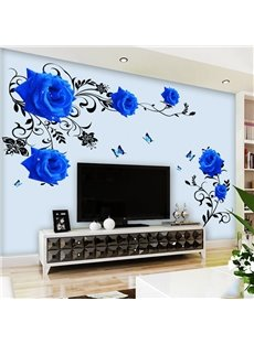 Removable Blue Flower Pattern TV Wall Corridor Home Decor Waterproof Wall Sticker