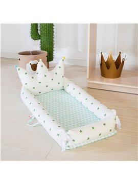 Portable And Handle Delicated Crown Printed Baby Bionic Crib