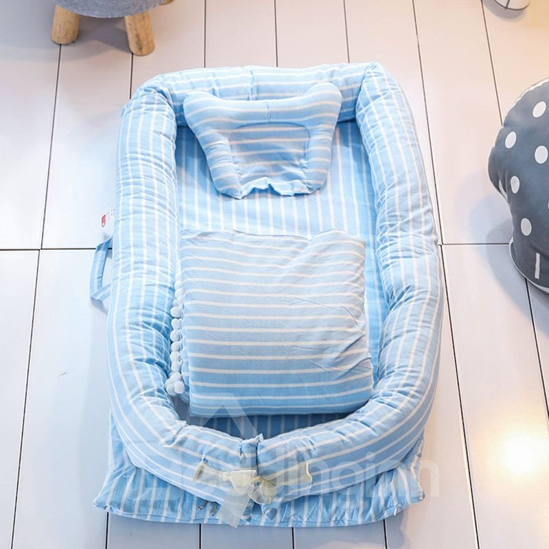 Soft and Washable Stripe Printed Cotton Baby Bionic Bed