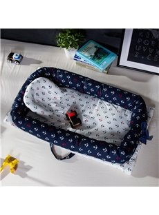 Collapsible and Washable Boat Printed Cotton Baby Bionic Bed