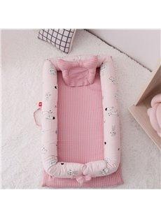 Multifunctional Double Yarn Cotton Flamingo Printed Baby Bionic Bed