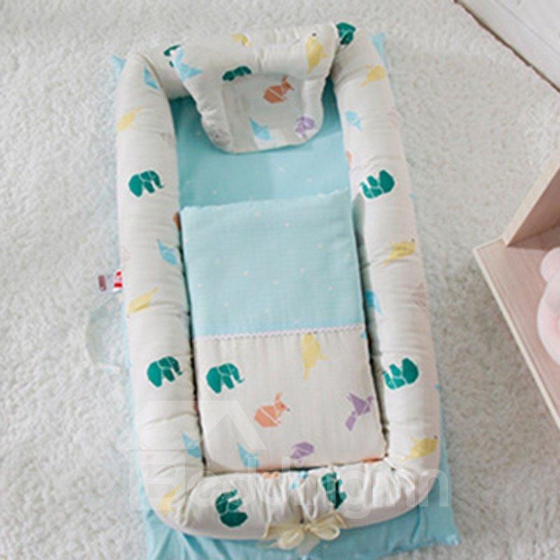 Anti-pressure MultifunctionalDouble Yarn Cotton Flamingo Printed Baby Bionic Crib
