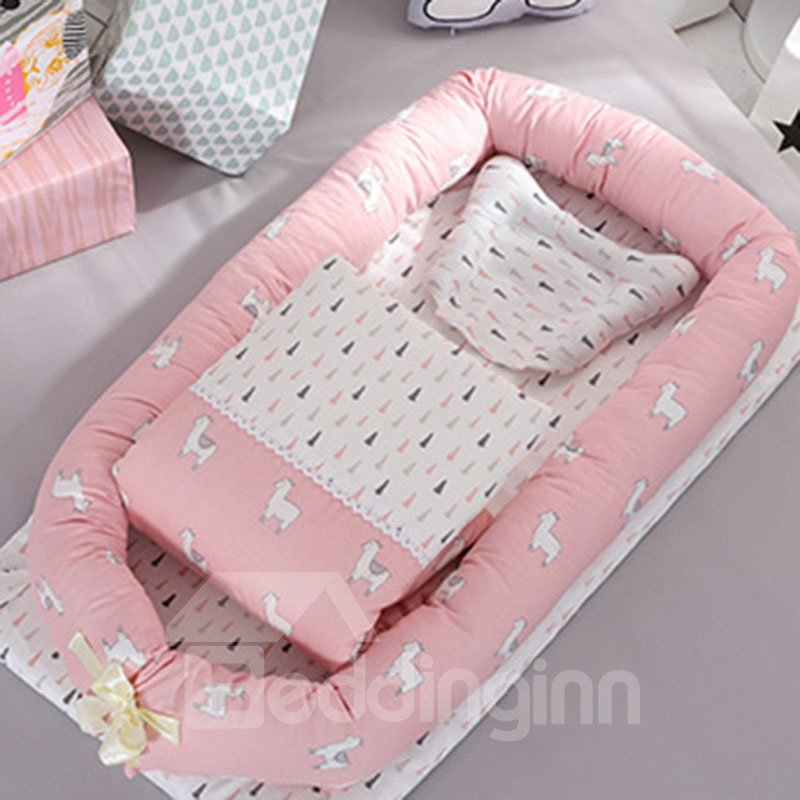60s Cotton Satin Drill Washable Flamingo Printed Baby Bionic Bed