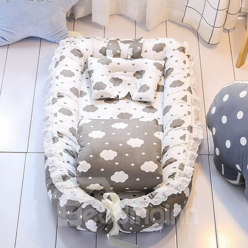 Full Release Designed Medium-sized Portable Cloud Printed Baby Bionic Bed