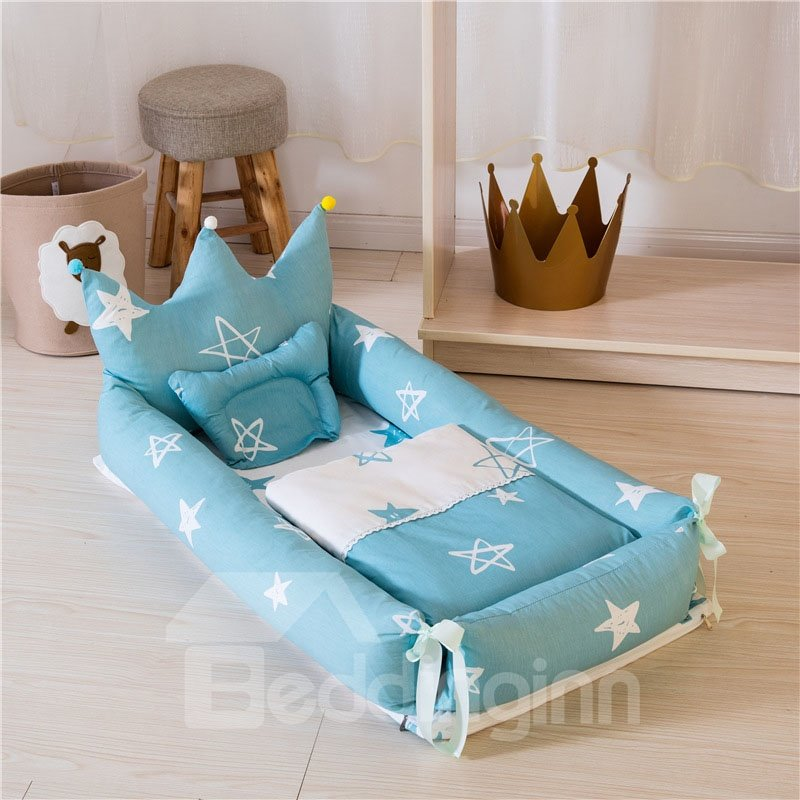 Portable And Removable Crown Printed Baby Bionic Crib