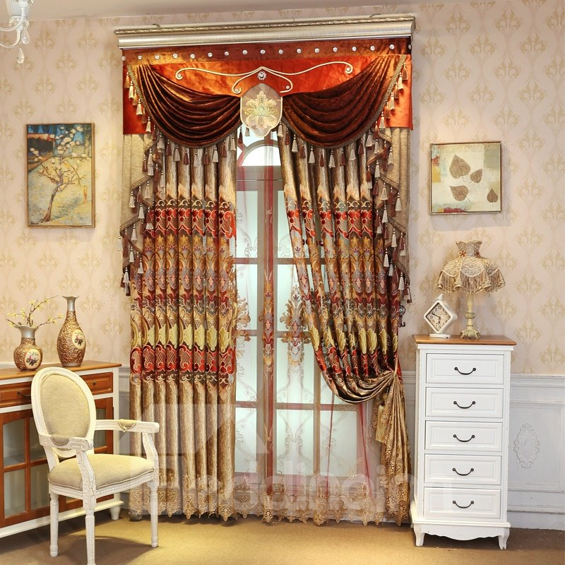 Shining Golden Embroidery Royal Design Drapes Grommet Top Curtain