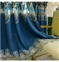 Thick Embroidery European Blue Drapes Grommet 2 Panels for Living Room