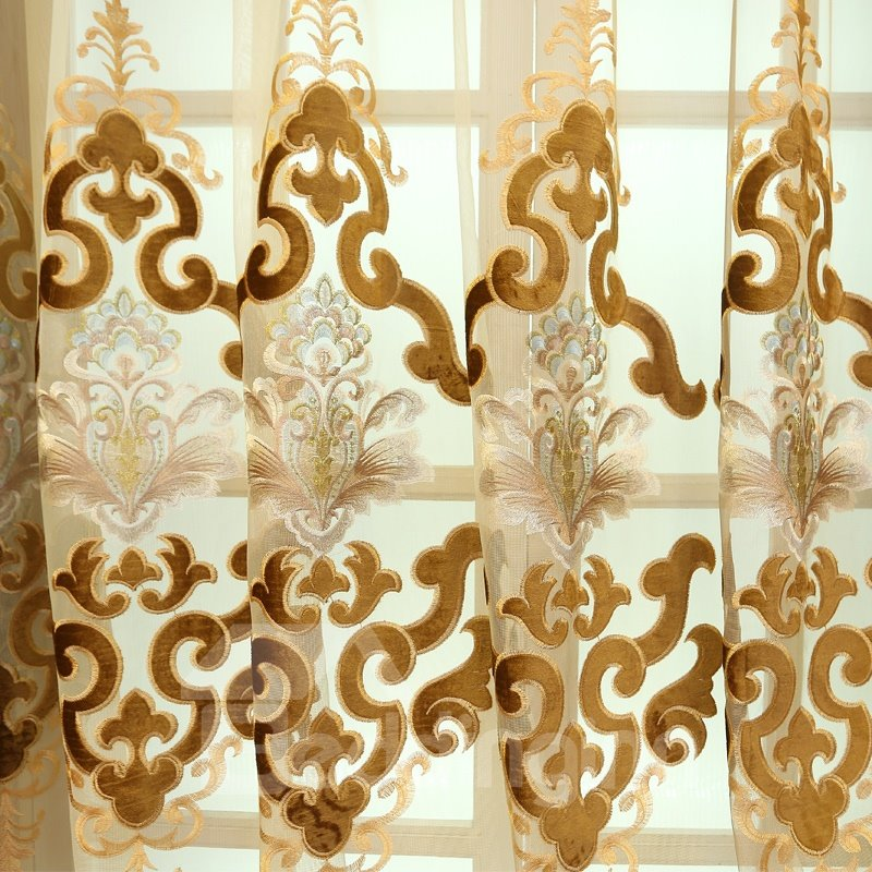 Embroidery Floral Curtain Brown Royal Sheer Curtain for Living Room