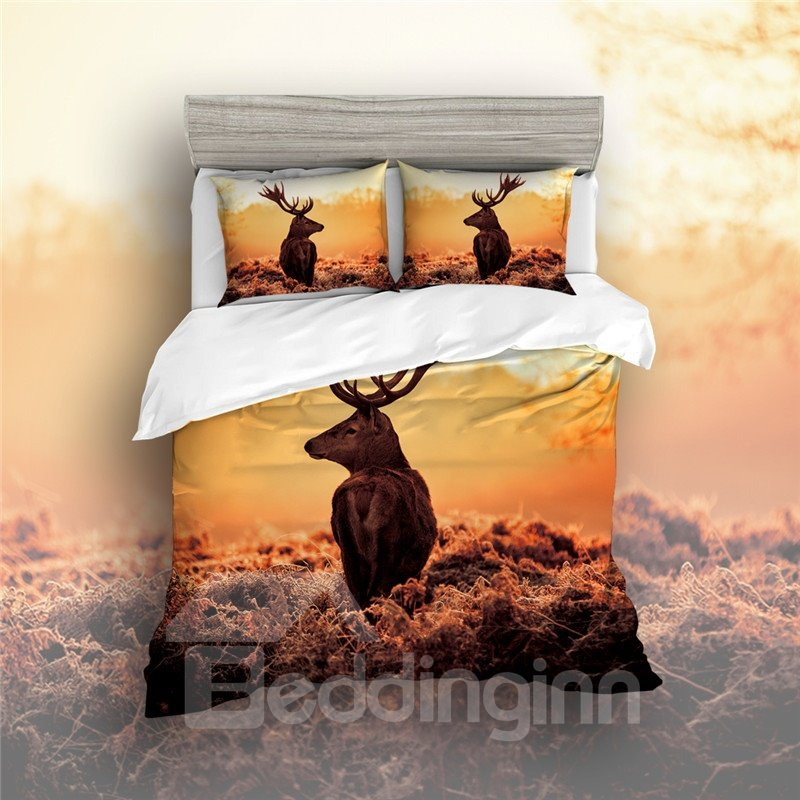 Comfortable and Handle Delicated Sika Deer Printed 4-Piece Bedding Sets