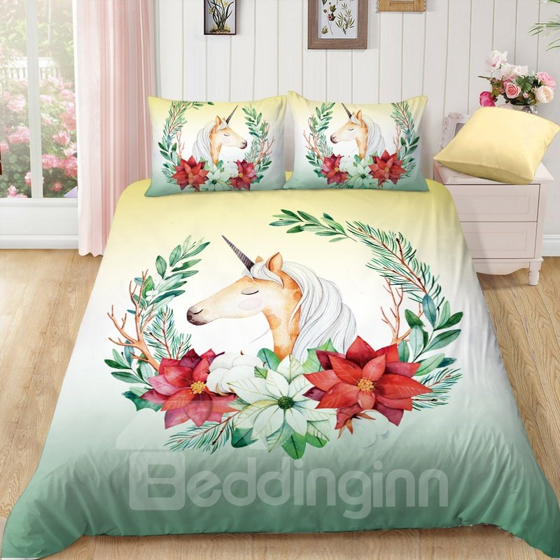 Anti-Allergic Smile Unicorn Printed 4-Piece Bedding Sets/Duvet Covers