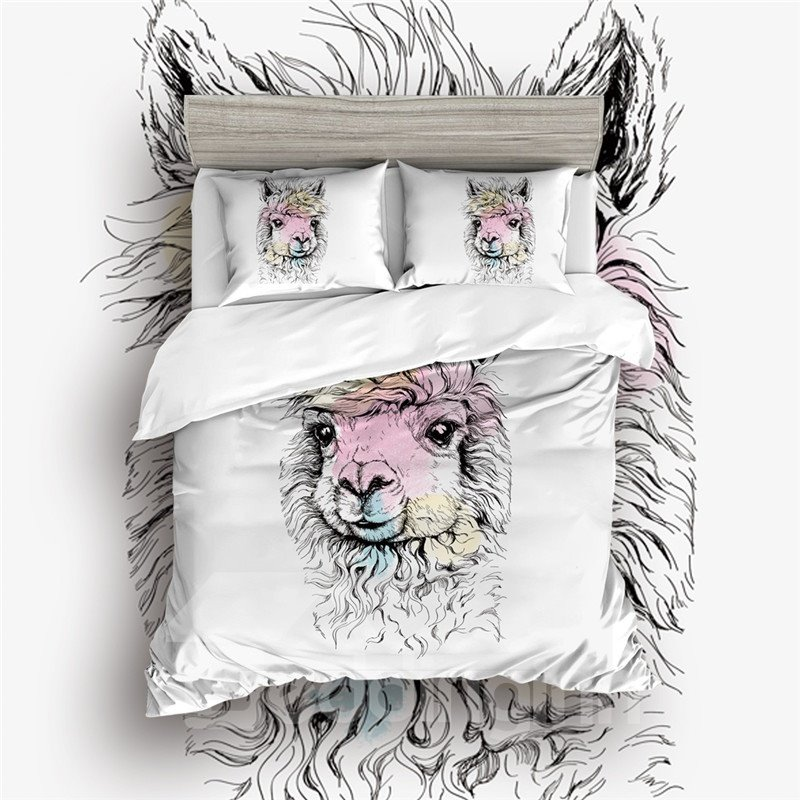 400 Thread Count Breathable Adorable Alpacas Printed 4-Piece Bedding Sets
