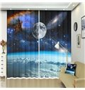 Universe with Planet Earth Stars Astral Theme 3D Curtains