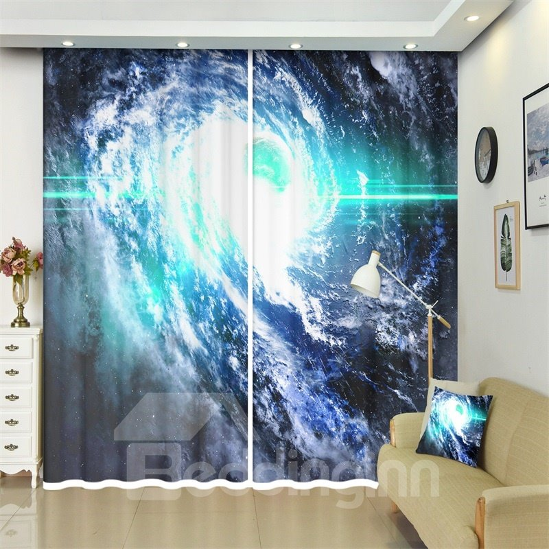 Nebulas Distant Parts of Galaxy Abstract Space Art Decor 3D Curtains