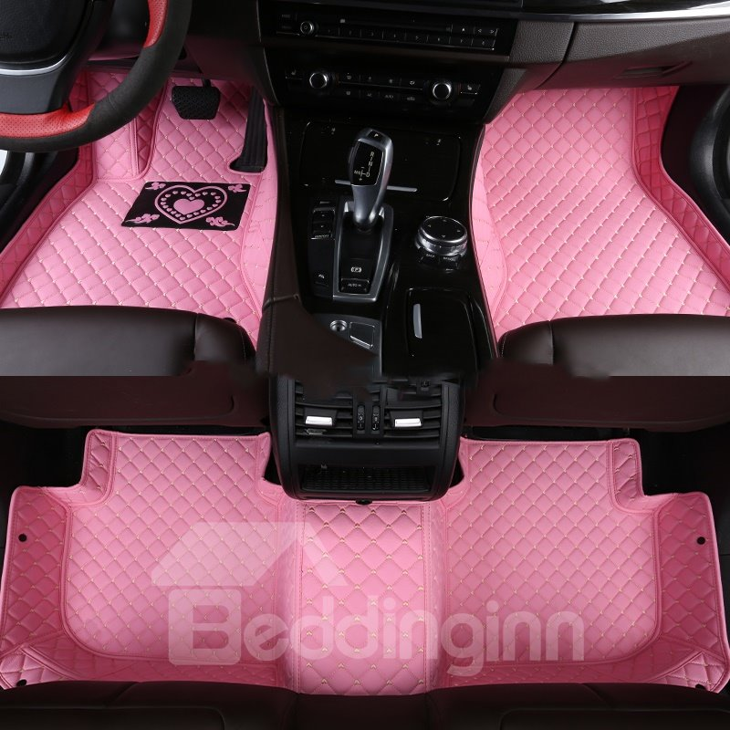 With Heart-shaped Pattern PVC Leather Waterproof Custom Fit Car Floor Mat