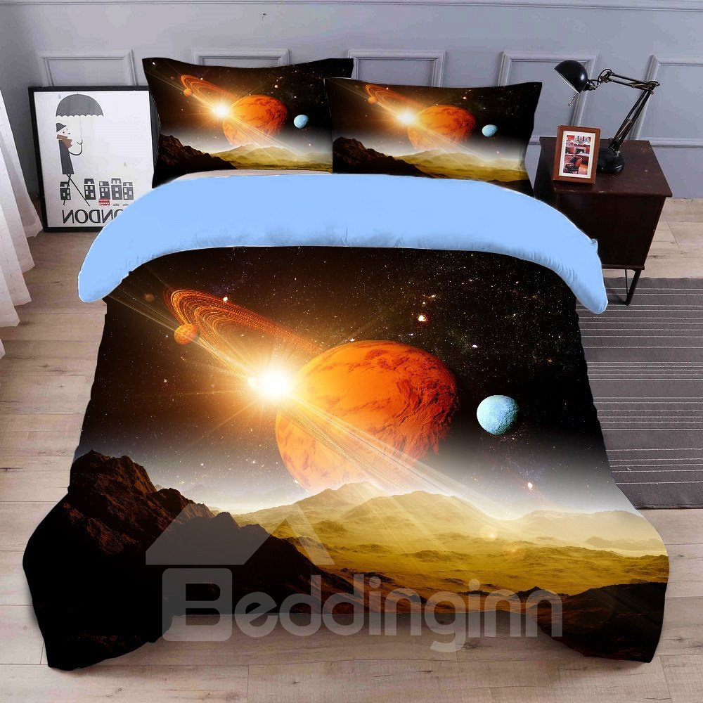 Ultra Soft And Breathable Milky Way Galaxy Printed 4-Piece 3D Bedding Sets/Duvet Covers