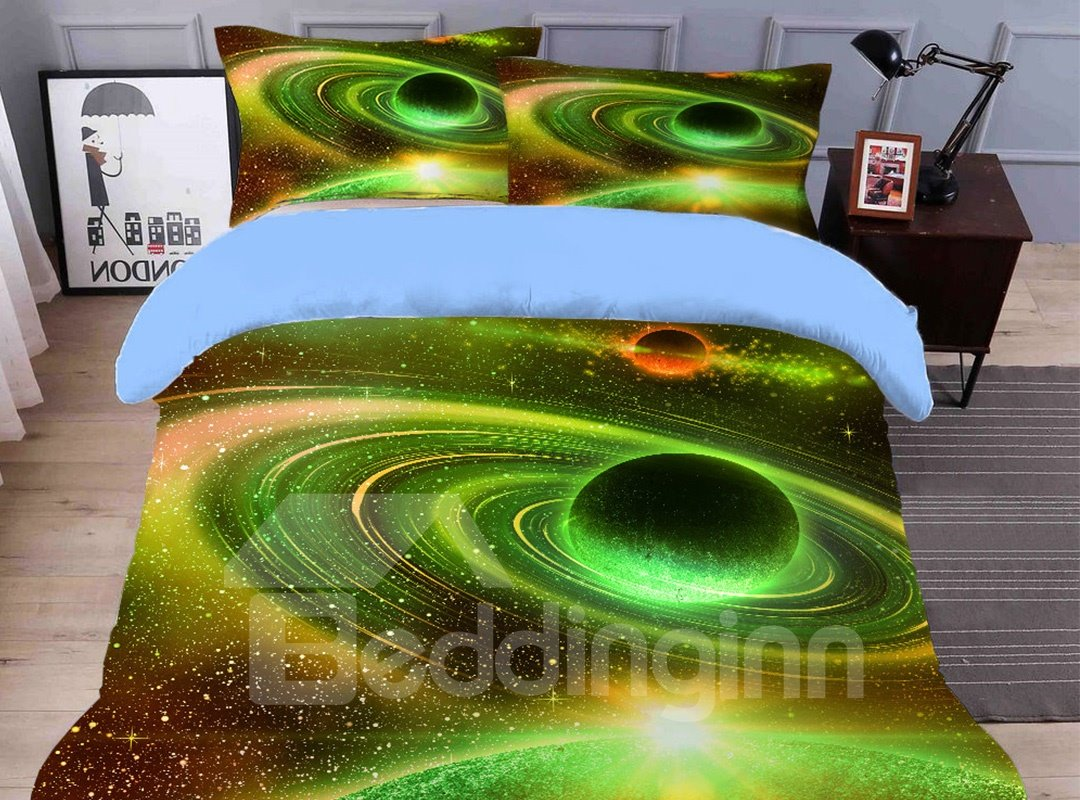 Breathable And Soft Vast Planet Printed 4-Piece 3D Galaxy Bedding Sets/Duvet Covers