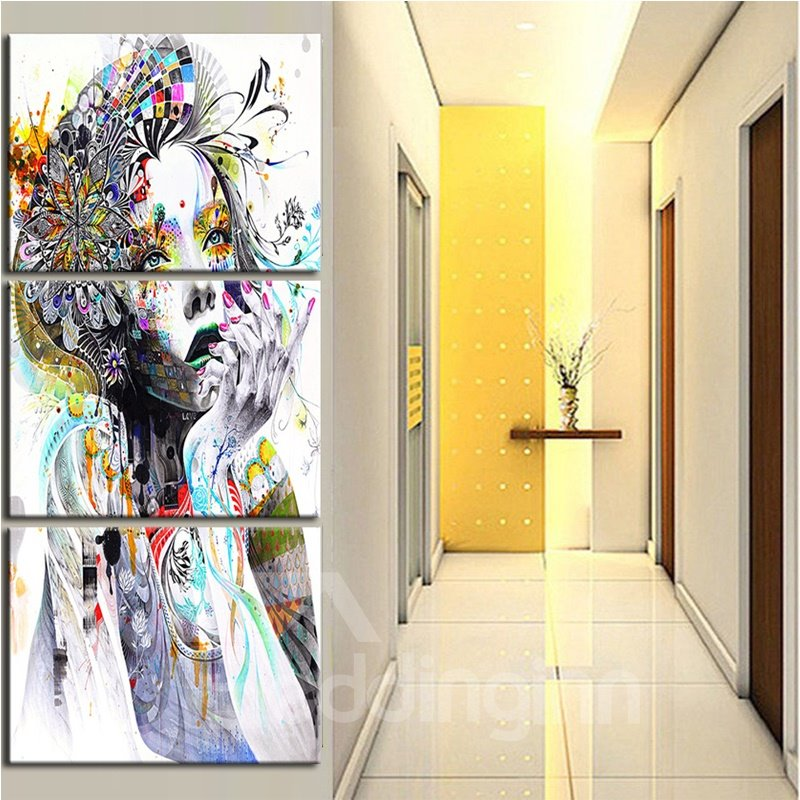 Waterproof Eco-friendly Girl Pattern 3 Pieces Hanging Canvas Framed Wall Prints