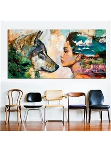 Wall Art Colored Wolf Painting Home Decor