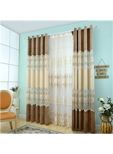 High Shading Degree Coffee and Beige 2-Pieces Jacquard Grommet Top Curtain