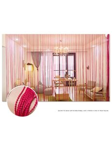 Rose Red String Sheer Curtain Porch Decorative Room Divider