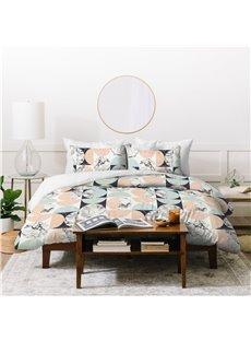 Fade Resistant And Comfortable Natural Style Marbling Printed 4-Piece Polyester Bedding Sets