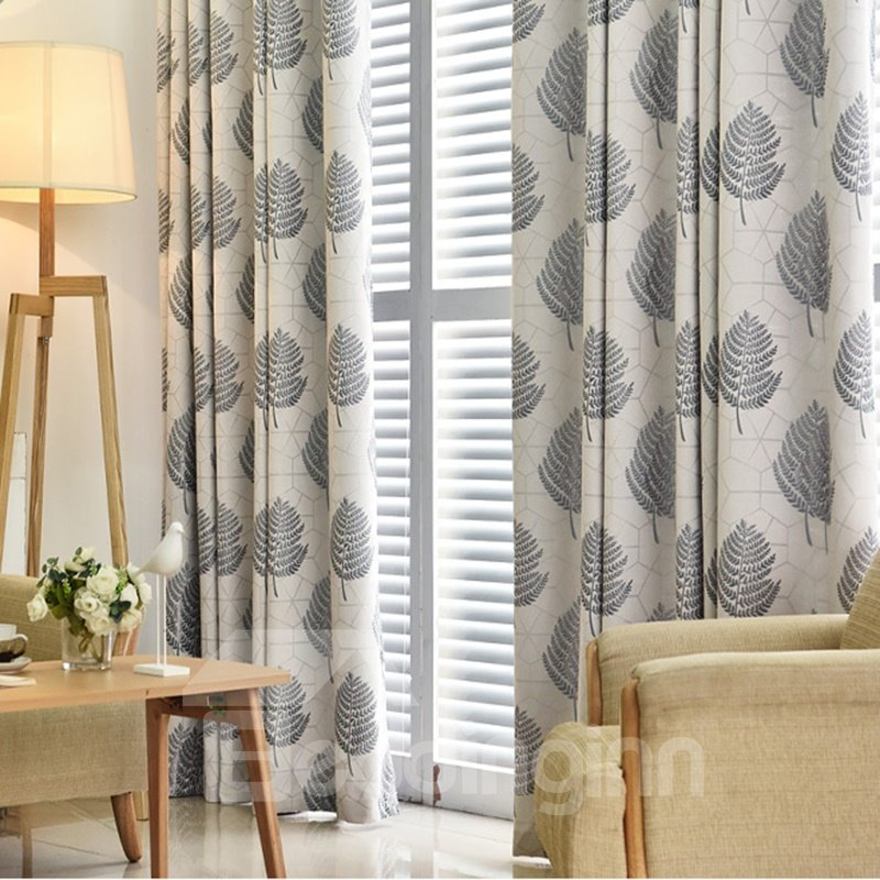 Blackout Modern Decoration High Quality Leaf Grommet Top Curtain