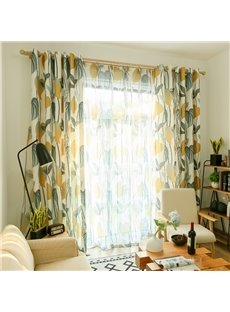 Blackout Fresh Style Leaf Custom Living Room Sheer Curtain