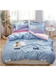 Breathable And Soft Cat Head Printed 4-Piece Silky Bedding Sets/Duvet Covers
