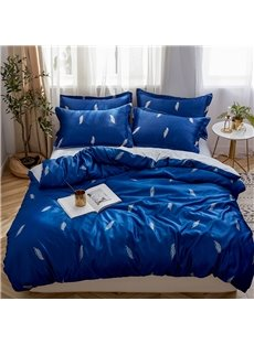 Handle Delicated And Breathable Feather Printed 4-Piece Silky Bedding Sets/Duvet Covers