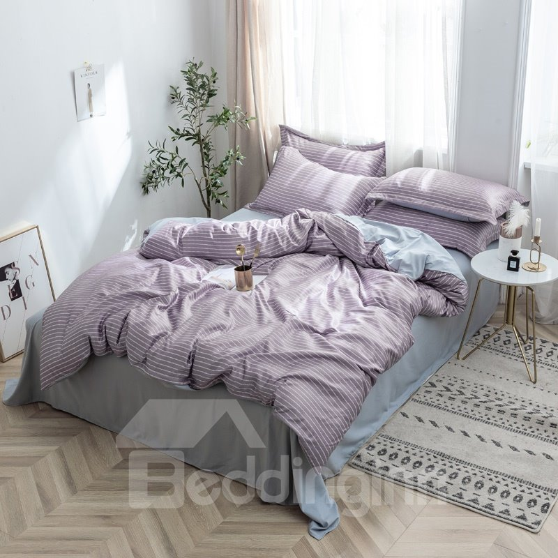 Lightweight and Soft Washed Silk Grid Stripe Printed 4-Piece 3D Bedding Sets