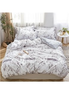 Washed Silk and Comfortable Marbling Printed 4-Piece Bedding Sets
