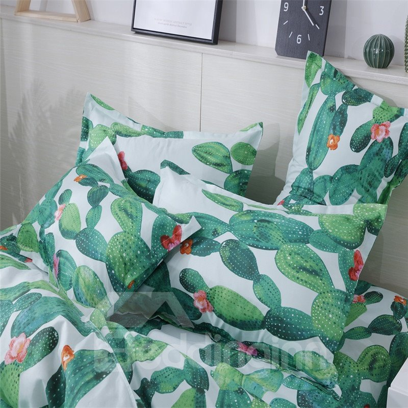 Fade Resistant Vital Cactus Printed 3-Piece 3D Bedding Sets/Duvet Covers