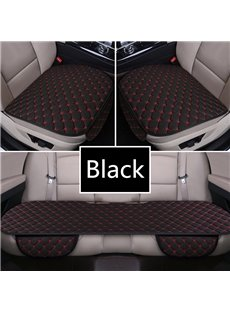 Modern Style Plaid Pattern Linen Material 3-pieces Car Seat Mat