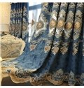 Flower Embroidery Window Blackout Noise-Free Grommet Top Curtains for Living Room