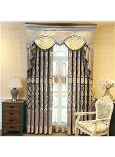 Luxury Rustic Rod Floral Embroidery Curtains For Living Room