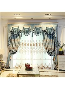 Vintage Floral with Light Green Pattern Living Room/Bedroom Window Sheer Curtains