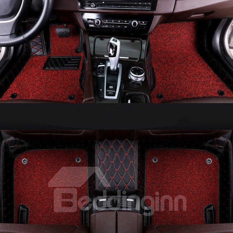 Color Block PVC Leather Material Waterproof Custom Fit Car Floor Mat