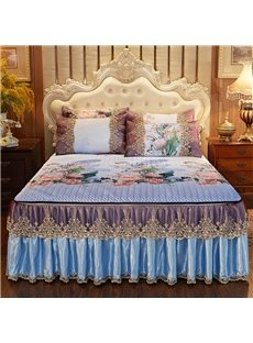 Detachable And Collapsible European Style 3-Piece Cotton Lace Bed Skirt Ice Mat Sets