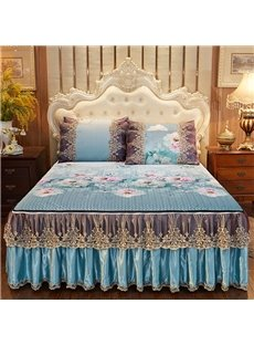 Fine-grained European Style Rich Peony Printed 3-Piece Cotton Lace Bed Skirt Ice Mat Sets