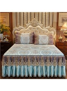 Removable And Pleasantly Cool 3-Piece European Style Alice Printed Cotton Lace Bed Skirt Ice Mat Sets