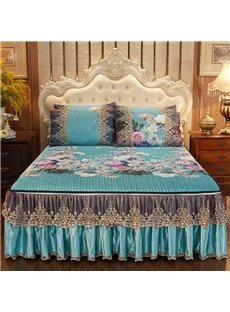 Infill Ice Silk Fabric 3-Piece European Style Cotton Lace Bed Skirt Ice Mat Sets