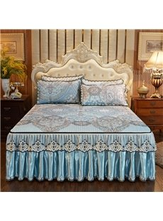 Removable And Fashional 3-Piece England Style Printed Bed Skirt Ice Mat Sets